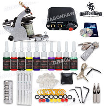 Tattoo starter kits Coils Guns Machine 10 Tattoo Ink Sets Power Supply Disposable Needle K4NS