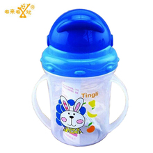 Updated Durable Baby diaper Kids Straw Cup Drinking Bottle Sippy Cups With handles Cute Design Feeding Bottle PP Plastic SGS(China)