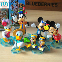 New 6pcs Mickey Mouse Toys Clubhouse Minnie Donald Duck Goofy Daisy Cartoon Figures Doll Minifigure Miniatures Cake Toppers