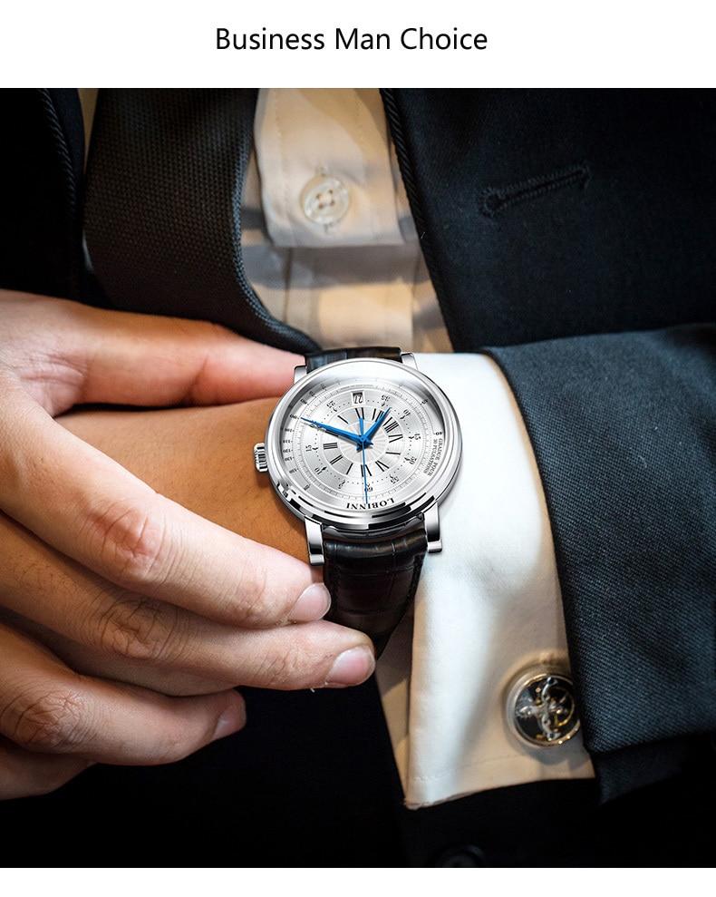 LOBINNI New Men Watches Top Luxury Brand Japan Import NH35A SII O Auto Mechanical MOVT Men's Clock Sapphire reloj hombre L1018-8 6