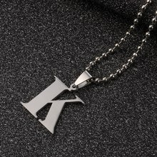 Letters Pendant Necklace Stainless steel Silver Letter K Charm Pendant Necklaces Ball Chain Necklace Black Leather Chain