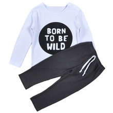 Moonlightzhou 2017 Born To Be Wild Baby Boy Suit Girl Winter Fall Clothes Letter T Shirt + Gray Pant 2pcs Kids Boys Clothing Set