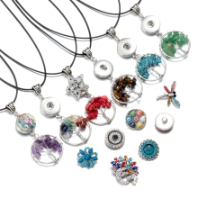 6 Colors Natural Stone Beads Silver Plated 30mm Mini Tree of Life Pendant Necklace Snaps Jewelry Fit 18mm Snap Buttons DZ1724a-f