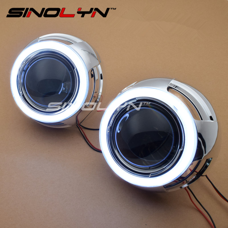 SINOLYN LED Angel Eyes Devil Eye DRL Car Bi Xenon Projector Lens Headlight Kit Car Styling Auto Tuning DIY Headlamp Lenses