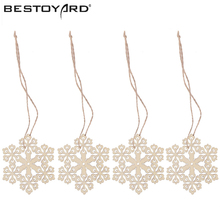10pcs Wooden Embellishments With String Christmas Decoration Snowflake Pattern Pendant(China)