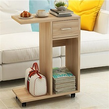 60x29x76CM Modern Wood Bedside Table Mobile Sofa Side Table Living Room Storage Cabinet With Drawer & Wheels