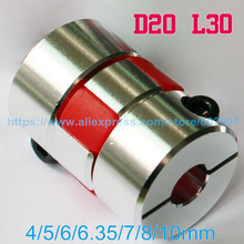 Flexible plum clamp coupler D20 L30 shaft size CNC Jaw shaft coupling 4/5/6/6.35/7/8/10mm 5mm 8mm(China)