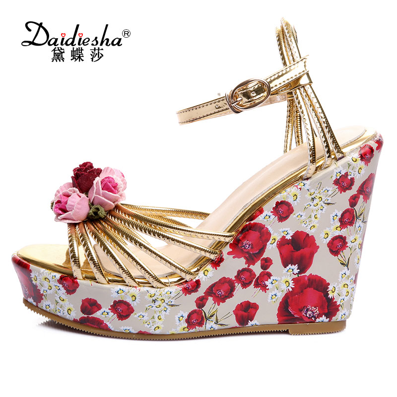 Daidiesha Retro Synthetic Footwear Women Ankle Strap Party Ladies high Pumps Back Strap Floral Girls Wedges stilettos sandals  <br>