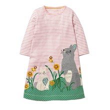 Little Maven New  Children  Long-sleeved O-necked Rabbits Grass Flowers Applique Spring Autumn Girls Cotton Knitted Dresses