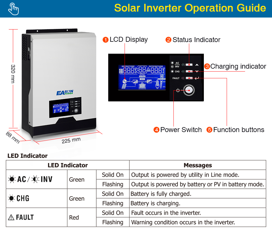 EASUN POWER 1KVA Solar Inverter 1000w 12V Pure Sine Wave Inverter 40A MPPT Off Grid Inverter 220V Hybrid Inverter 20A AC Charger_03