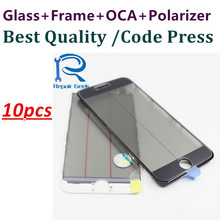 10pcs(5w5b) Original Design Front Screen Outer Glass Lens with Bezel Frame OCA Polarizer Film For iPhone 7 6 6s plus 5 5s