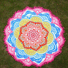Beach Holiday Travel Bohemian Comfortable Bath Pool Cover Ups Print Shawf Lotus Blanket Towel Pink/Yellow/Blue