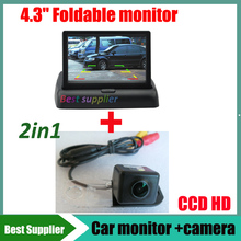 2in1 For Volvo S80 S80L S40 S40L XC90 XC60 xc30 car backup reverse rear view camera CCD HD and car monitor mirror 4.3inch