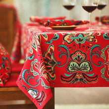 Red Ethnic Flower Square Tablecloth Dining Table Cloths Linen Rectangular Multi Sizes Table Covers For Party Home Weddings Decor(China)