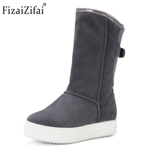 Winter Real Leather Boots Thickened Fur Women Boots Short Ankle Snow Boots Lady Buckle Platform Footwear Women Shoes Size 33-42