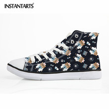 INSTANTARTS New Men's Vulcanize Shoes Cartoon Bear Doctor Printing High Top Canvas Shoes Classic Lacing Flat Shoes for Students(China)
