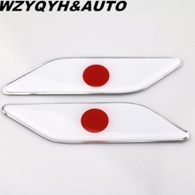 2pcs Car styling 3D PVC+Aluminum alloy Car Stickers Japan Flag badge Badge Emblems Decal Decor for mazda toyota Honda Suzuki(China)