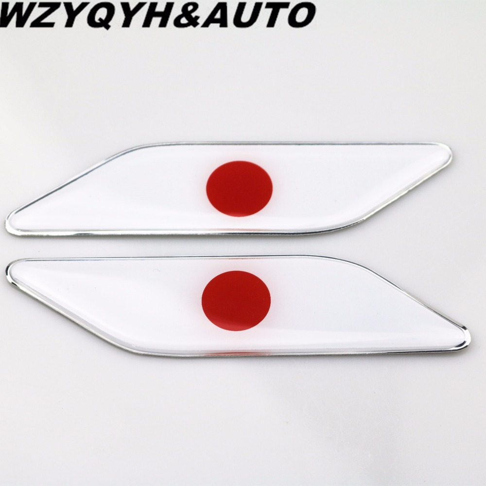 2pcs Car styling 3D PVC+Aluminum alloy Car Stickers Japan Flag badge Badge Emblems Decal Decor for mazda toyota Honda Suzuki(China (Mainland))
