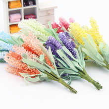 10Pcs/lot Artificial Lavender Bouquet Silk Flower Leaf flower for home Garden wedding Car corsage decoration Box crafts Supplies