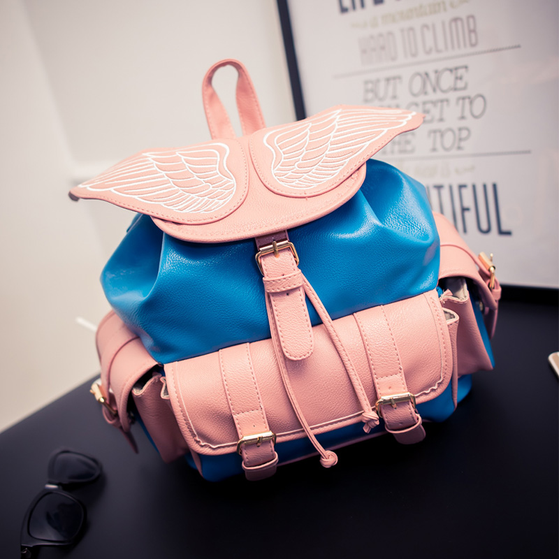 New Womens Backpack High Quality PU Leather Wing Childrens School Bags Fashion Lovely Hit Color Backpacks<br>