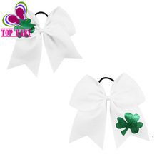 White Color Big Ribbon Clover Print Cheer Bow with Elastic Tie For Cheerleading Girls Handmade Gift
