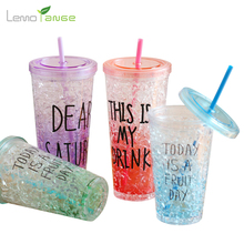 Summer Water Bottle Lemorange Plastic Crushed Ice Bistratal Colorful With Sucker Creative Drinkware TQQ0056(China)