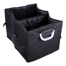 Foldable Car Trunk Organizer Stowing Tidying Back Seat Storage Bag 2 Compartments Multi-function Food Beverage Container Box(China)