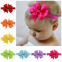 3 Inch Cute Kids headband Kids Chiffon Bowknot Headbands Solid Color Hair Bows Hair Band Accessories  567