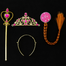 Tronzo 3pcs Birthday Party Decoration Kids Favors and Gifts Cute Pink Glitter Crown Scepter Braid Wig For Chilren Party Supplier
