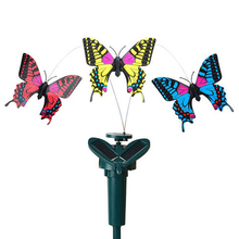 Beautiful Solar Butterfly And Hummingbirds Artificial Fluttering Flying Simulation Butterfly Garden Decoration Color Random(China)