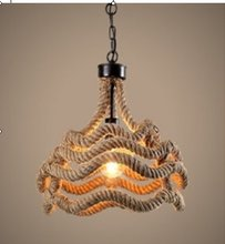 E27 Loft Vintage Industrial America Rope Ceiling Lamp Deco Pendant Lights Edison Bulb Vintage Lighting Hanging