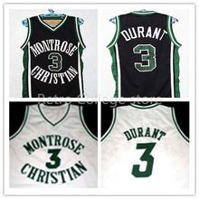 Kevin DURANT #3 Montrose High School Basketball Jersey, Men's Double Stitched Authentic Kevin DURANT Jersey White/Black XXS-6XL(China)