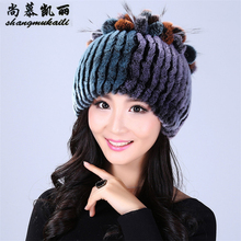 Women fur hat for winter caps natural rex rabbit fur cap Russian female fur headgear 2017 brand new fashion warm beanies cap hat(China)