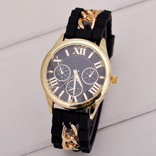2016 Hot Sale Fashion Women Girl Watch Silicone Roman Numerals Quartz Wrist Watches Good-looking MA 23