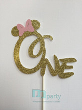 Minnie Mouse Cake Topper Glitter Minnie Cake Topper Minnie Birthday Party Decor Cake Stick Minnie Cake Glitter Pink Gold Cake