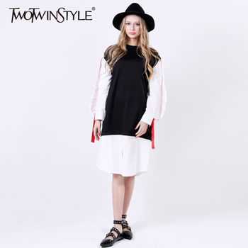 [TWOTWINSTYLE] 2017 Printemps Patchwork Plissée Ruches manches Longues Dress Femmes T shirt New Vintage Vêtements