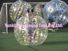 Transparent 1.2M pvc bubble football /soccerball/body bumper for kids(China)