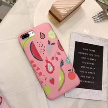 1 Pc/lot Soft TPU IMD Matte Black Bottom Berry Summer Fruit Juice Pattern Cell Phone Case Back Cover for iPhone 7 6s Plus(China)