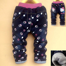 2017 Baby Girls Boys Pants Kids Jeans Minnie Trousers Autumn Winter Thickened Warm Pants Mickey Jeans Children Kitty Denim Pants