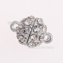 DHL Free Shipping Hot Sale 11mm Round Rhinestone Magnetic Ball Clasps For Jewelry Making PMC-M040