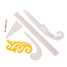 Plastic Multifunction Set 5 Style Tailor Clear Sewing Ruler Comma Line Grading French Curve Measure Sewing Accessories