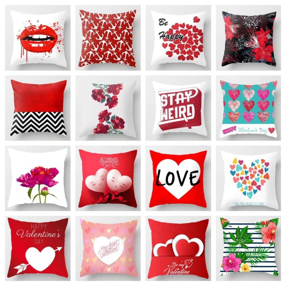 Christmas Heart Shaped Print Home Cushion Pillows Cover Case Cushions Pillowcase