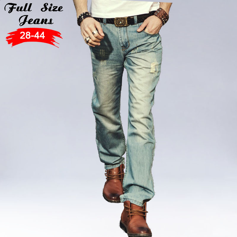 Summer Plus Size Designer Vintage Retro Jeans Men Worn Denim Trousers Fashion Light Blue Straight Jeans Stitching Multi Hole 38Îäåæäà è àêñåññóàðû<br><br>