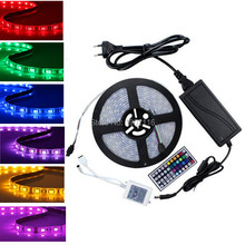 IP65 Waterproof DC12V 300 Leds 5m/Roll Led Strip SMD 5050 RGB Silicon Tube+Power Adapter+ 44 Keys Remote Control led strip lamp(China)