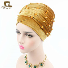 New Luxury Woman Velvet Turban Headband Beaded Studded Pearled Extra Long Velvet Turban Head Wraps Hijab Head Scarf