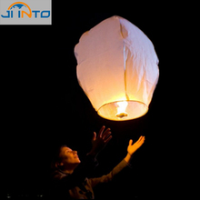 10pcs White Paper Chinese Lanterns Fire Sky Fly Candle Lamp for Birthday Wish Party Wedding Decoration(China)