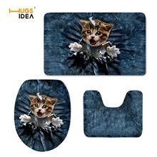HUGSIDEA 3D Cute Denim Cat Dog Design 3PCS Set Bathroom Floor Carpet Home Hotel Decor Non-slip Area Rugs for WC Toilet Lid Pads