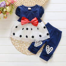 Children Clothes Girl Fashion Clothing In Spring And Summer 2017 Collection Bowknot Choli + Pants 2 Pc