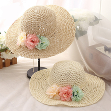 HT1293 2017 New Fashion Big Large Wide Brim Floppy Hats High Quality Crochet Summer Straw Hats Ladies Flower Beach Sun Hats(China)