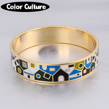 Indian Jewelry 16mm Width Big Bracelet Bangle Vintage Gold-color Designer Enamel Bangles for Women Trendy Party Jewelry